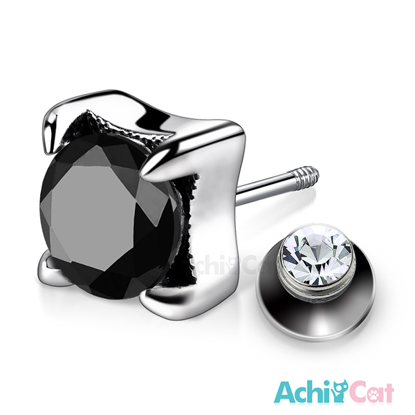 AchiCat 925純銀栓扣後鎖式耳環抗過敏 復古鷹爪 兩面皆可戴(黑鋯大墜)GS7070