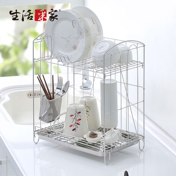 組合式雙層瀝水架 生活采家 台灣製304不鏽鋼 餐具碗盤 收納置物架#27249