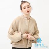 ❖ Autumn ❖ 蓬袖剪裁毛絨感夾克外套 - earth music&ecology