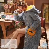 浴袍  睡袍女秋冬季珊瑚絨三層夾棉襖加厚保暖睡裙加長款浴袍睡衣家居服  艾森堡