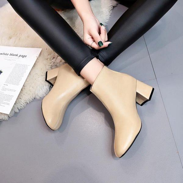 秋冬季英倫風方頭皮靴粗跟高跟鞋子女士后拉鏈短靴馬丁靴 糖果時尚