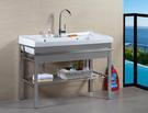 【麗室衛浴】簡約現代板1030 雙槽 陶瓷洗衣槽 含不銹鋼置物架