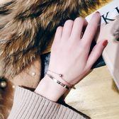 簡約個性鈦鋼雙層手鍊女正韓學生潮流百搭手鐲手環氣質日韓手飾品禮物限時八九折
