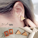Valor.幾何鏤空方形三角木頭穿針式耳...