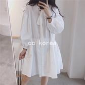 很減齡大領結燈籠袖洋裝 CC KOREA ~ Q27686