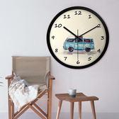 創意小汽車卡通小清新掛鐘靜音臥室客廳大號掛錶簡約鐘錶 wy 年貨慶典 限時鉅惠