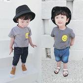 寶寶條紋短袖T恤兒童裝新款男童圓領上衣女童笑臉打底衫潮艾美時尚衣櫥