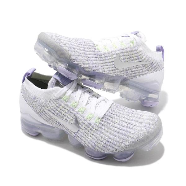Nike 慢跑鞋 Wmns Air Vapormax Flyknit 3 白 銀 紫 大氣墊 女鞋 【ACS】 AJ6910-102