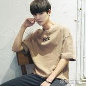 2020新款夏季男生簡約韓版亞麻棉麻短袖半5五分袖T恤上衣服潮流牌  【雙十二下殺】