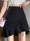 不規則半身裙女春裝2021新款港味復古黑色包臀短裙高腰顯瘦a字裙 黛尼時尚精品