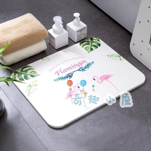 硅藻土吸水地墊衛生間浴室防滑墊淋浴房廁所腳墊【奇趣小屋】