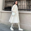 熱銷秋季風衣赫本大衣女中長款過膝冬設計感小眾輕熟很仙的蕾絲連身裙