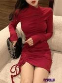 包臀洋裝 2019秋季新款夜店性感復古抽繩褶皺打底裙修身顯瘦包臀魚尾連衣裙