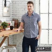 【JEEP】復古滿版印花紋短袖襯衫-藍色