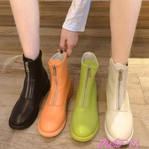 平底網紅短靴女冬新款瘦瘦靴百搭英倫風馬丁靴秋款春季新品