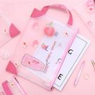 文件袋-韓國粉嫩水蜜桃pu防水手提/手拿A4文件袋 文件夾 檔案夾【AN SHOP】