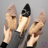 高跟鞋 毛毛鞋女低幫鞋2018秋季加絨正韓社會女高跟鞋尖頭豆豆鞋女單鞋子