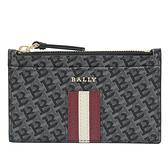 茱麗葉精品【全新現貨】BALLY 6239381 SANDHY 金屬LOGO品牌條紋PVC鑰匙零錢包.深灰