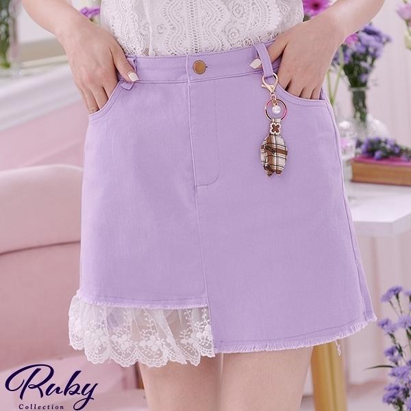 褲裙 格紋吊飾拼接蕾絲後鬆緊褲裙-Ruby s 露比午茶