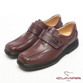CUMAR皮革光澤側扣氣墊鞋-咖啡色