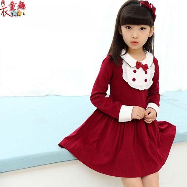 衣童趣 ♥韓版中大女童 公主裙洋裝 學院風女孩長袖連身裙 正式場合 甜美必備款洋裝【現貨】