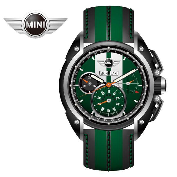 【萬年鐘錶】MINI Swiss Watches英國風格 綠面白條三眼外圈數字日期 黑綠雙色皮帶錶   45mm MINI-03