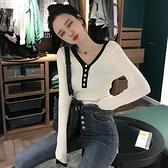 秋裝新款韓版打底修身百搭V領套頭針織衫韓版撞色毛衣長袖上衣女