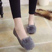 秋冬甜美毛球懶人女鞋尖頭時尚套腳飄鞋兔耳朵平底毛毛單鞋女 聖誕交換禮物