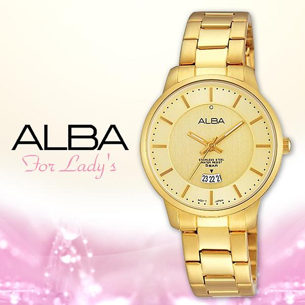 ALBA 雅柏 手錶專賣店 AH7F48X1 女錶 石英錶 不鏽鋼錶帶 日期金 全新品