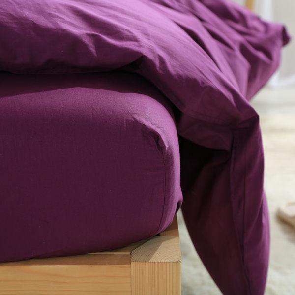 床包組 標準雙人 冷紫色 玩色 素色 馬卡龍 精梳純棉 5尺 床包組 被套 枕套 簡約 北歐 佛你企業