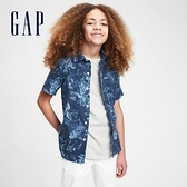 Gap男童 亞麻印花透氣短袖襯衫 681349-海軍藍印花