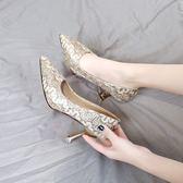 細跟鞋 新款尖頭淺口高跟鞋紅色婚鞋伴娘鞋子貓跟鞋單鞋女 - 古梵希