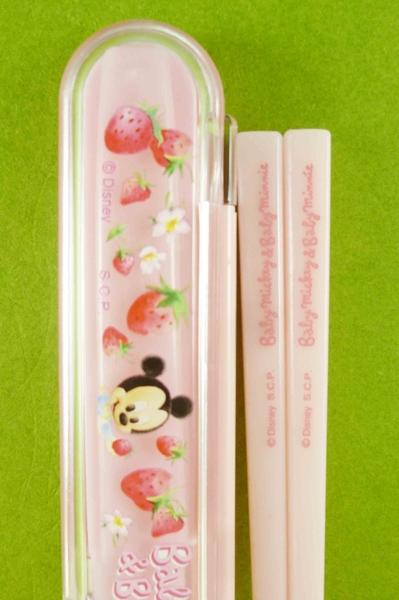 【震撼精品百貨】Micky Mouse_米奇/米妮 ~迪士尼攜帶式筷子附盒-粉米奇#53861