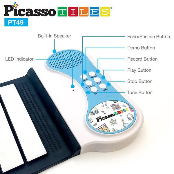 美國畢卡索PicassoTiles PT49智慧便攜式手捲電子琴 – 八音色 六demo 演奏曲