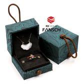 戒指盒 古典玉器翡翠高級錦盒 戒指吊墜盒手鐲盒 對戒盒 綠色兩用首飾盒新款