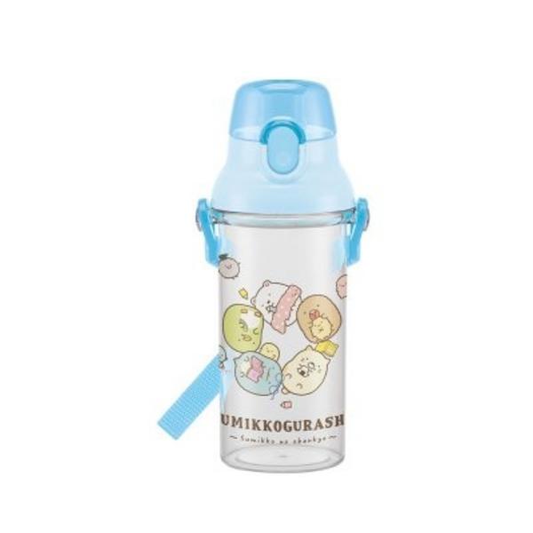 日本 San-X 角落生物 藍色透明按壓式直飲水壺480ml PSB5TR (6337) -超級BABY