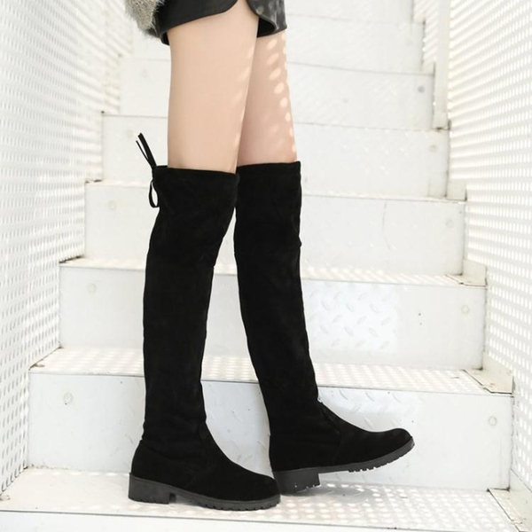 膝上靴 2019秋冬季新款韓版過膝靴長靴彈力瘦瘦靴女長筒靴高筒平底靴子潮 1色35-40