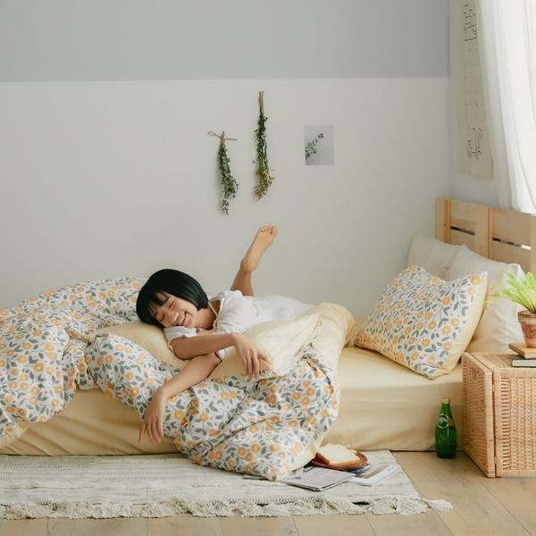 純棉 被套(鋪棉) 雙人【椿花】ikea風格 100% 精梳純棉 翔仔居家