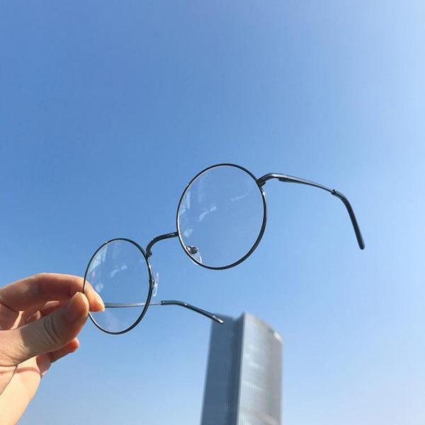 文藝青年男女日系眼鏡 韓版時尚簡約金屬圓框眼鏡架 無度數平光鏡 限時八八折