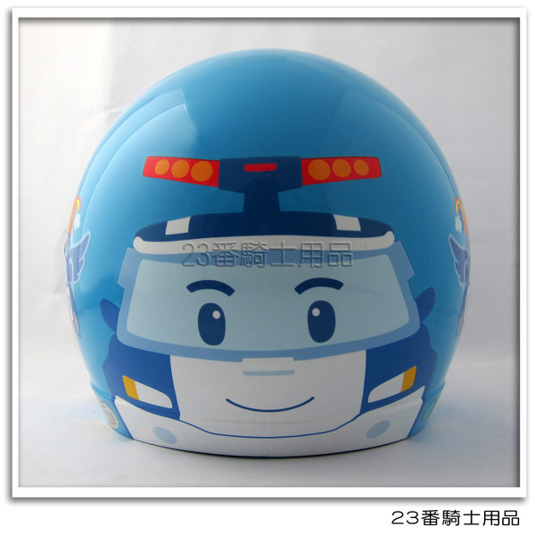 【KK 兒童 安全帽 POLI 02 波力 大臉 水藍 兒童帽】3/4罩、附鏡片