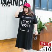 Miss38-(現貨)【A04803】簡約黑1975 休閒純棉 短袖 下擺開叉 大尺碼洋裝 連衣裙-大尺碼女裝