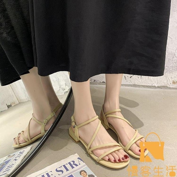 涼鞋女低粗跟夏季時尚一字帶時裝鞋【慢客生活】