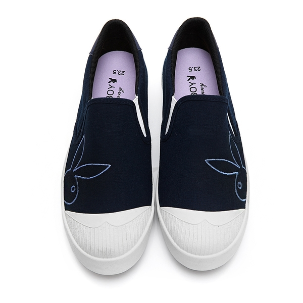 PLAYBOY 清新電繡兔頭懶人鞋-藍(Y7201)