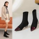 真皮大尺碼女鞋34-43 2020新款法式優雅百搭尖頭低跟時裝靴 短靴子~2色
