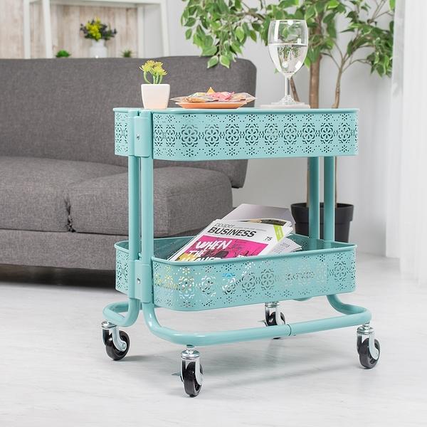 威瑪索 二層收納車 木天板 木層板 多功能茶几桌推車 雕花款