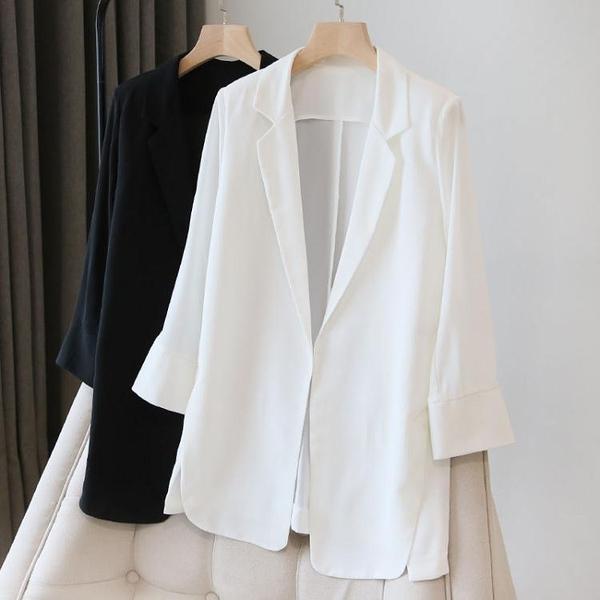 雪紡小西裝外套女2021春夏季新款韓版寬鬆防曬衣中長款空調開 快速出貨
