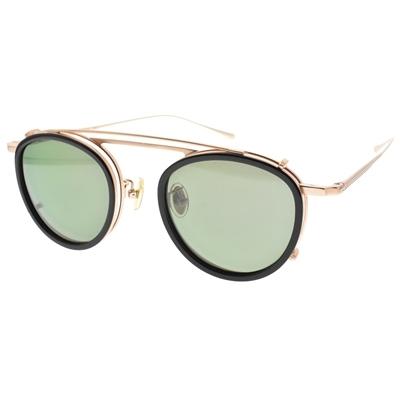NINE ACCORD 光學眼鏡 TI OVERLAP C3 (霧金 前掛 黑-霧金-綠 偏光鏡片) 復古細圓框 附前掛式墨鏡 鈦眼鏡