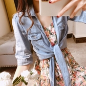 長裙中長款無袖吊帶碎花連身裙衣裙套裝 POLO領薄款短袖空調衫小披肩 居享優品