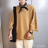 短袖T恤男士潮流男生打底衫韓版寬鬆七分袖男潮牌夏裝  ciyo黛雅