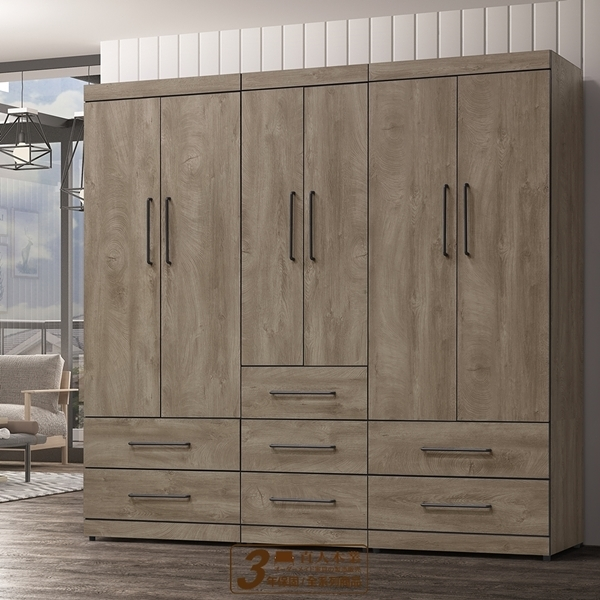 日本直人木業-OLIVER古橡木220公分系統衣櫃組合